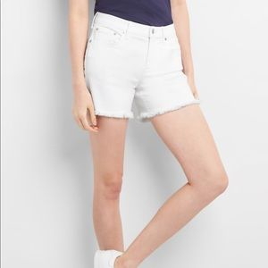 White DENIM Shorts From GAP with raw hem